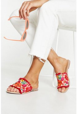 Womens Red Embroidered & Grass Sliders
