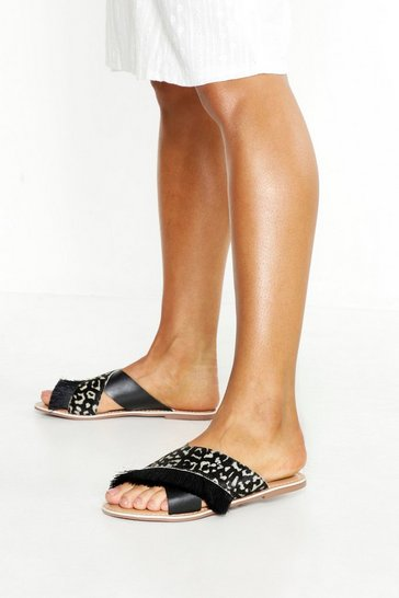 Womens Black Leather Giraffe Print Fringe Sliders