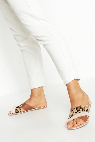 Womens Leather Leopard Fringe Sliders