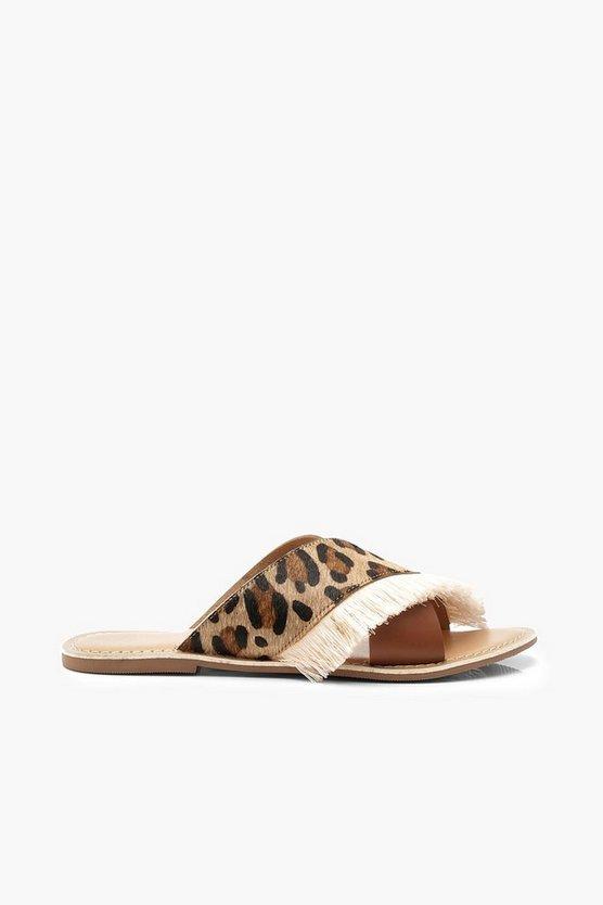 Leather Leopard Fringe Sliders