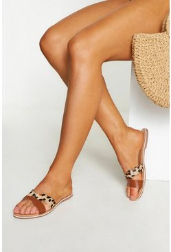 Womens Tan Leather Cutwork Animal Sliders