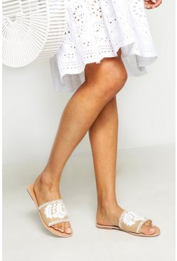 Womens Cream Raffia Embroidered & Beaded Sliders