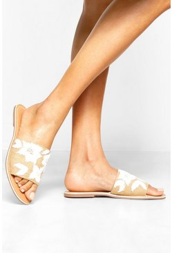 Womens Beige Embroidered & Beaded Raffia Sliders
