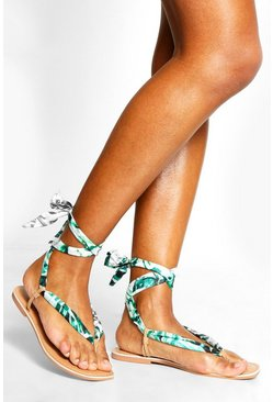 Womens Green Palm Print Scarf Sandals
