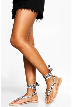 Womens Mono Leopard Scarf Sandals