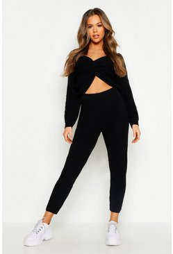 Womens Black Twist Front Knitted Lounge Set