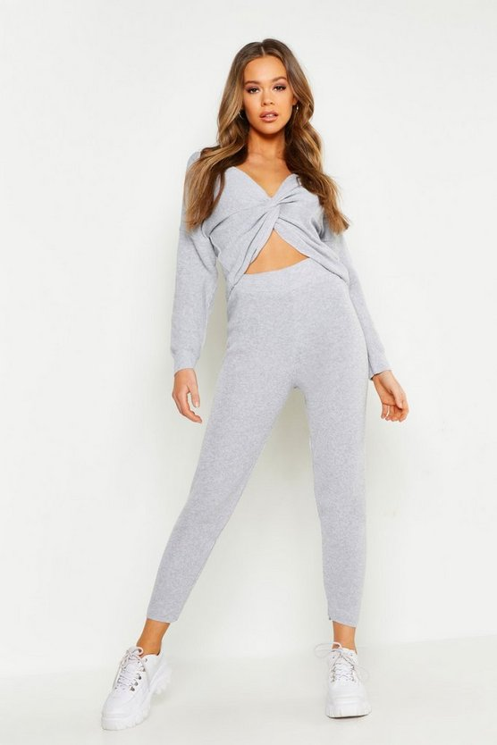 Womens Grey Twist Front Knitted Lounge Set