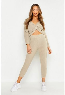 Womens Stone Twist Front Knitted Lounge Set