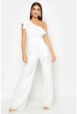 Womens White One Shoulder Tie Belt Wide Leg Jumpsuit