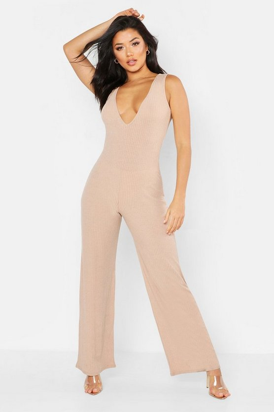Womens Stone Ribbed Plunge Wide Leg Jumpsuit