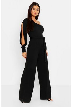 Split Sleeve Jumpsuit, Black, Donna