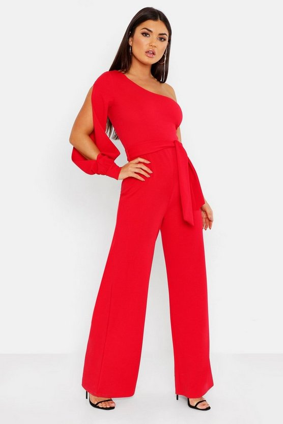 Womens Red Split Sleeve Jumpsuit
