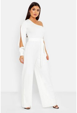 Womens White Split Sleeve Jumpsuit