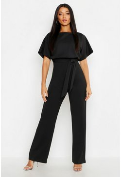 Womens Black Double Layer Jumpsuit