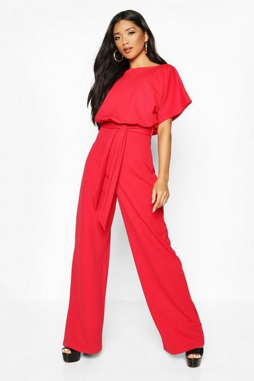 Red Double Layer Jumpsuit