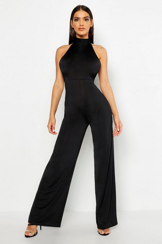 Womens Black Halterneck Jumpsuit