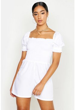 Womens White Shirred Cap Sleeve Romper
