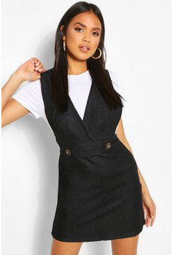 Black Button Front Denim Pinafore