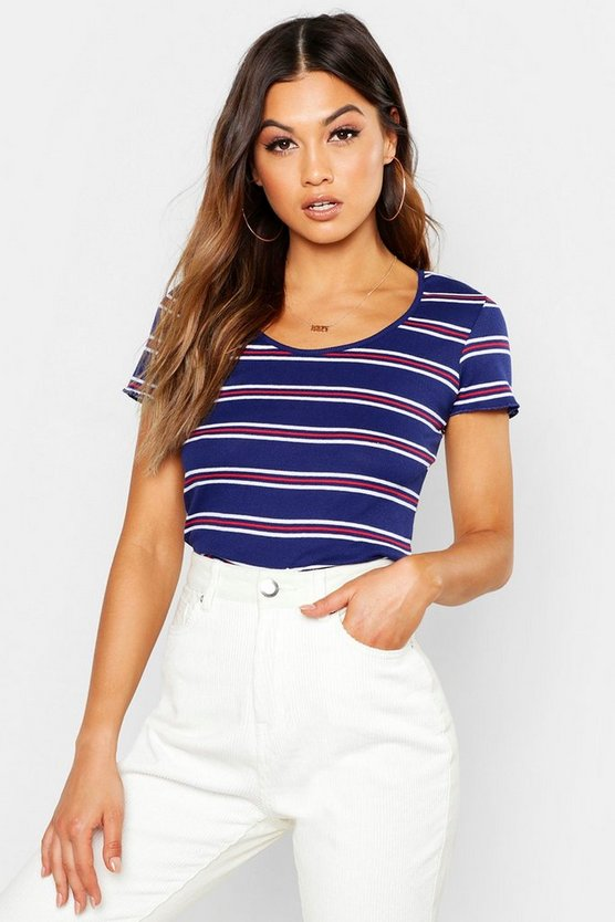 Stripe Rib Crew Neck T-Shirt