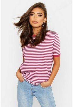 Womens Red Stripe Ringer T-Shirt