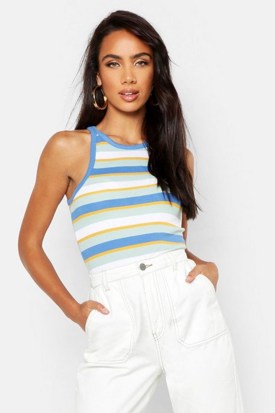 Womens Blue Rib Stripe Racer Vest