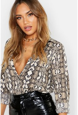 Snake Print Oversized Shirt, Natural