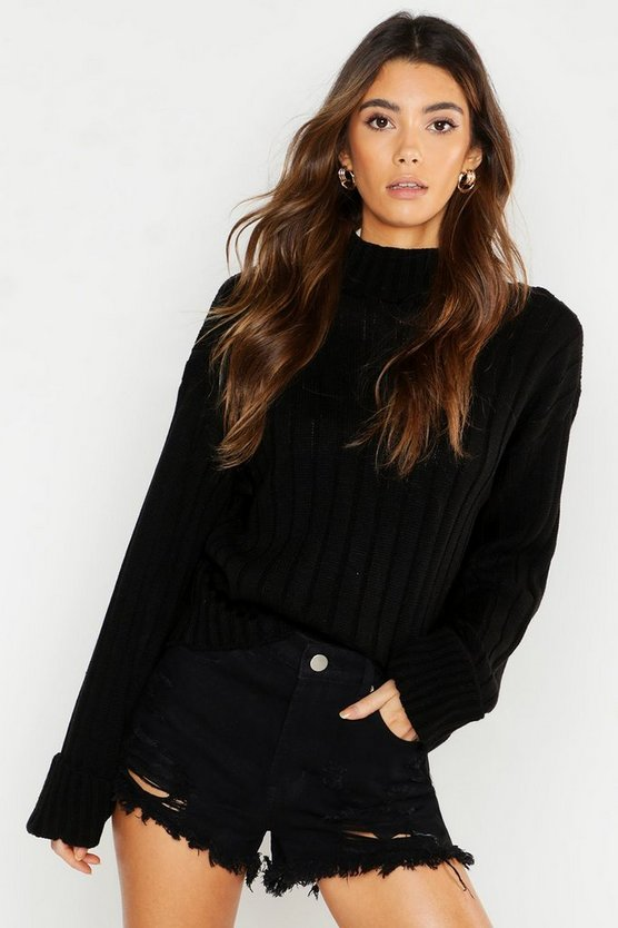 Womens Black Roll Neck Turn Up Cuff Jumper