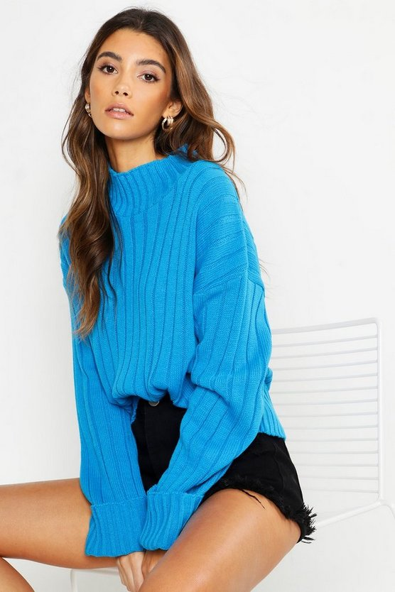 Womens Blue Roll Neck Turn Up Cuff Jumper