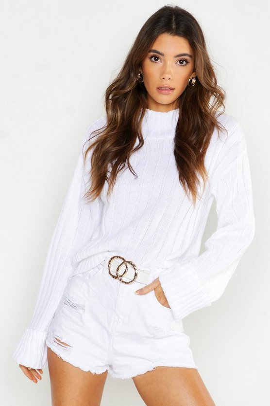 Womens White Roll Neck Turn Up Cuff Jumper