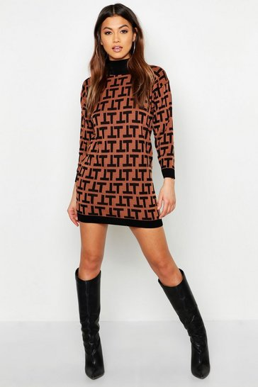 Womens Brown Knitted Mini Dress