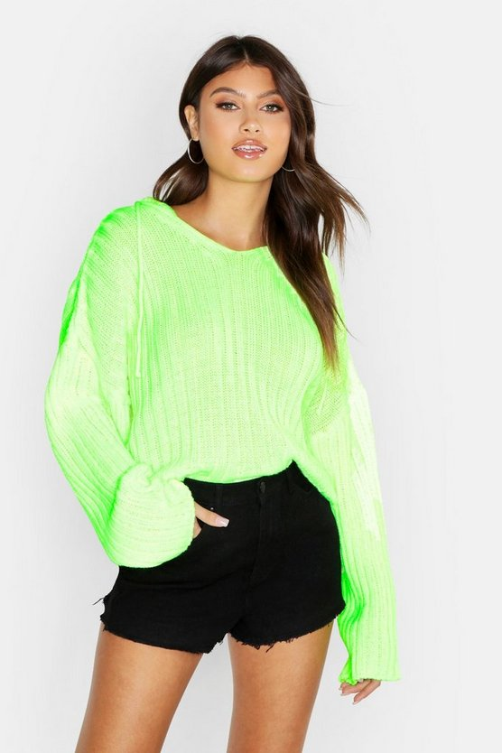 Womens Neon-lime Knitted Ribbed Hoody
