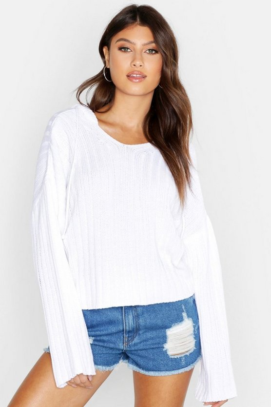 Womens White Knitted Ribbed Hoody