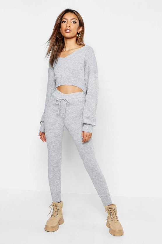 Womens Grey Off The Shoulder Premium Knitted Set