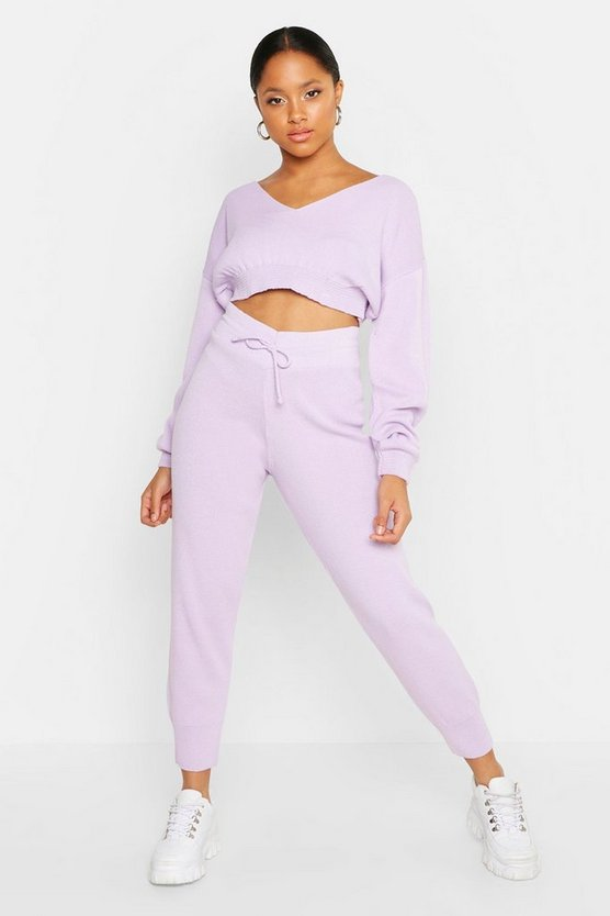Womens Lilac Off The Shoulder Premium Knitted Set