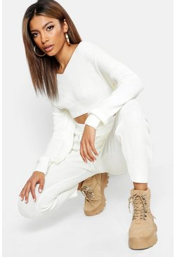 Womens White Off The Shoulder Premium Knitted Set
