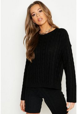 Womens Black Cable Knit Slash Neck Knitted Short Set