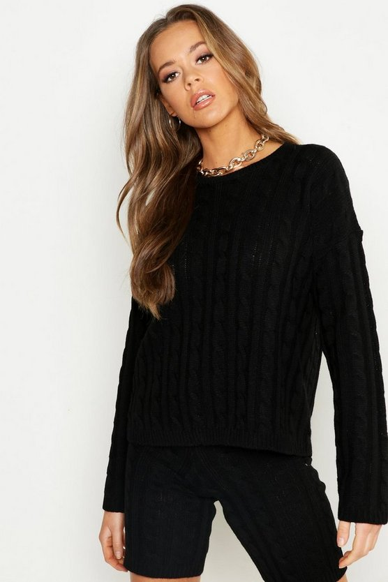 Cable Knit Slash Neck Knitted Short Set, Black, Donna