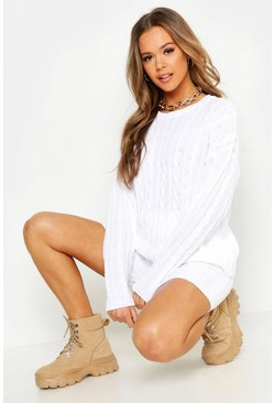 Womens White Cable Knit Slash Neck Knitted Short Set