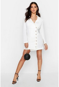 Womens White Side Button Front Tailored Dress