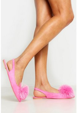 Womens Pink Pom Pom Pointed Toe Ballet Pumps
