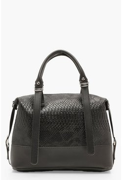 Womens Black Faux Snake Bowling Bag