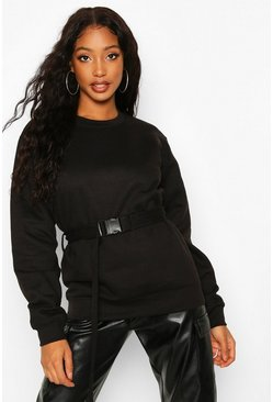 Womens Black Buckle Tie Belt Sweat