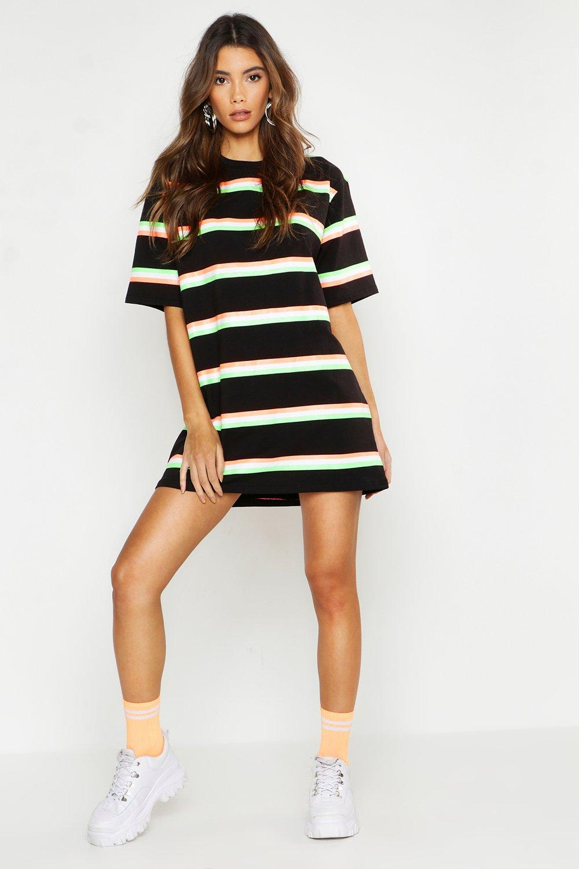 Neon Stripe Oversized T-Shirt