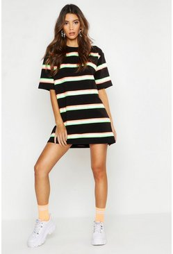 Neon Stripe Oversized T-Shirt, Black, Donna