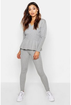 Womens Grey Wrap Front Peplum Knitted Set