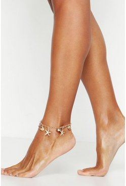 Womens Gold Shell & Starfish Charm Anklet