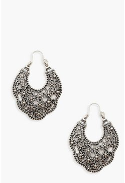 Womens Silver Boho Flower Scallop Earrings