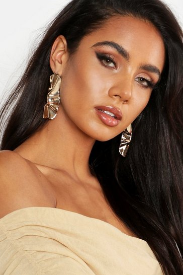 Womens Gold Pleated Oversized Statement Earrings