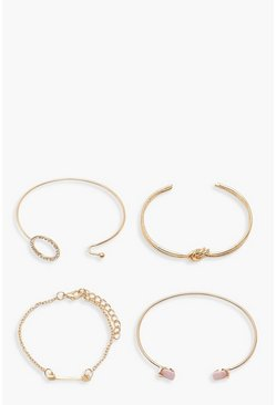 Knot & Diamante Bracelet Pack, Gold