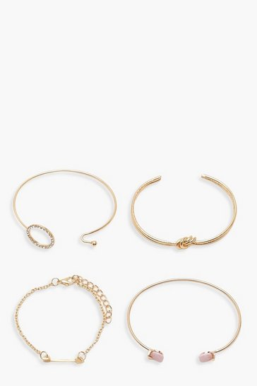 Womens Gold Knot & Diamante Bracelet Pack